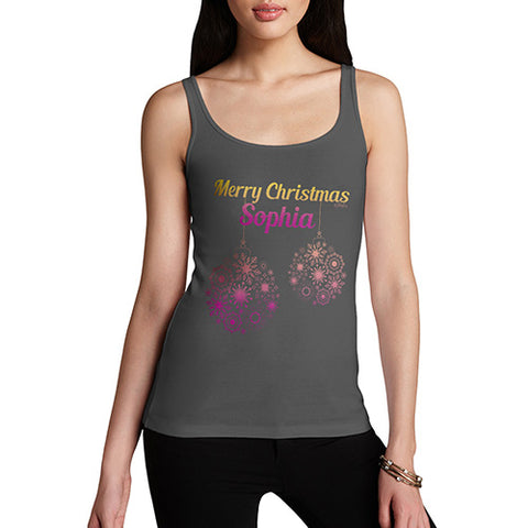 Merry Christmas Baubles Personalised Women's Tank Top