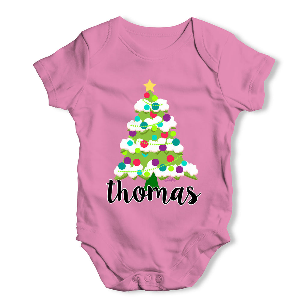 Personalised Cartoon Christmas Tree Baby Grow Bodysuit