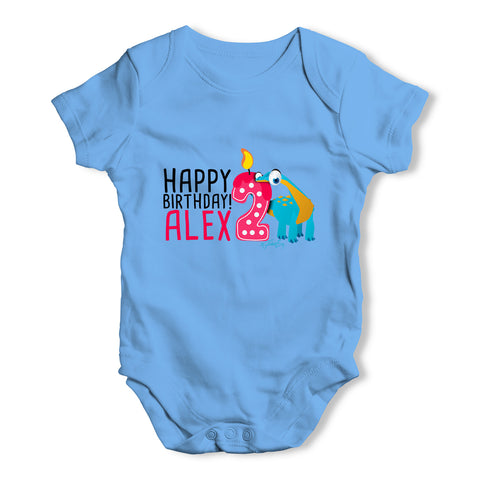 Personalised Dinosaur 2nd Birthday Baby Grow Bodysuit
