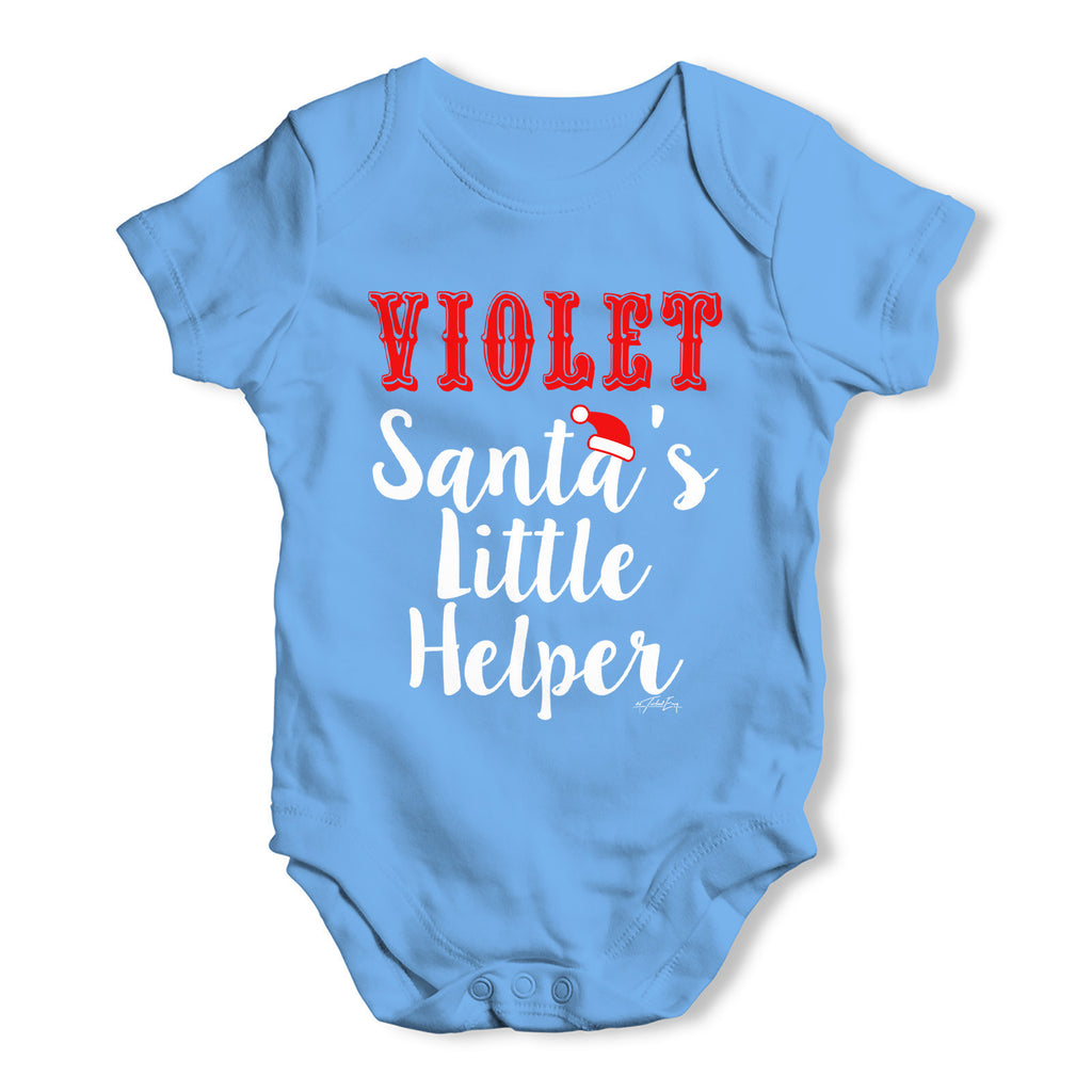 Personalised Santa's Little Helper Baby Grow Bodysuit