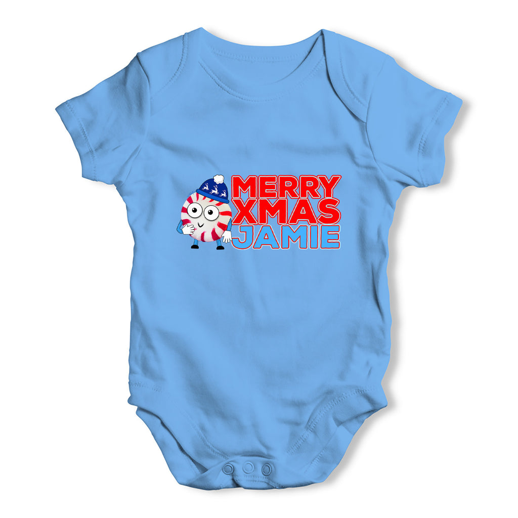 Personalised Cartoon Christmas Peppermint Candy Baby Grow Bodysuit