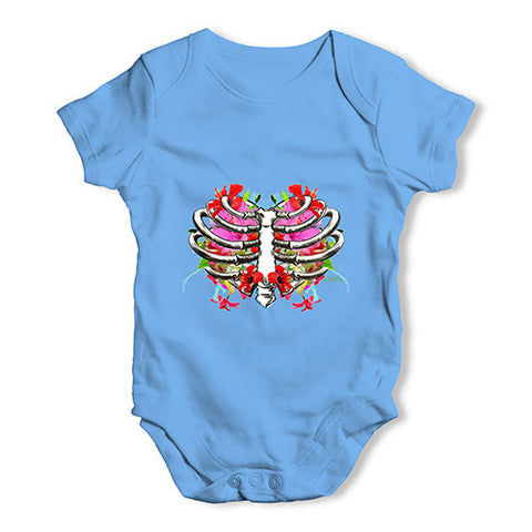 Floral Heart Ribcage Baby Unisex Baby Grow Bodysuit