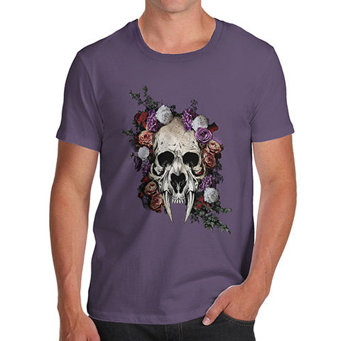 Sabretooth Skull Flowers Men's T-Shirt