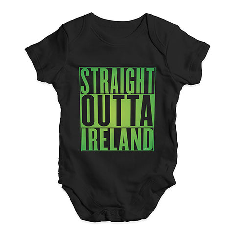 Funny Baby Bodysuits Straight Outta Ireland Green  Baby Unisex Baby Grow Bodysuit 6-12 Months Black