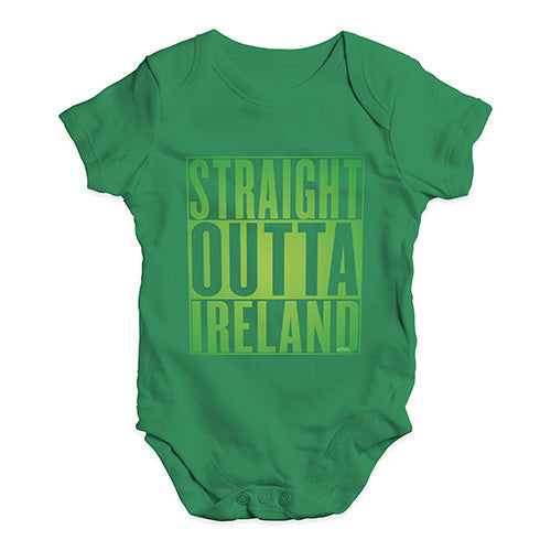 Funny Baby Bodysuits Straight Outta Ireland Green  Baby Unisex Baby Grow Bodysuit 12-18 Months Green