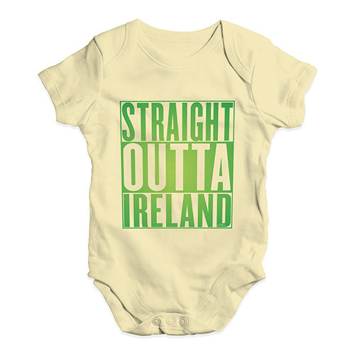 Baby Girl Clothes Straight Outta Ireland Green  Baby Unisex Baby Grow Bodysuit 6-12 Months Lemon