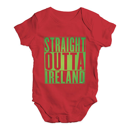 Baby Grow Baby Romper Straight Outta Ireland Green  Baby Unisex Baby Grow Bodysuit Newborn Red