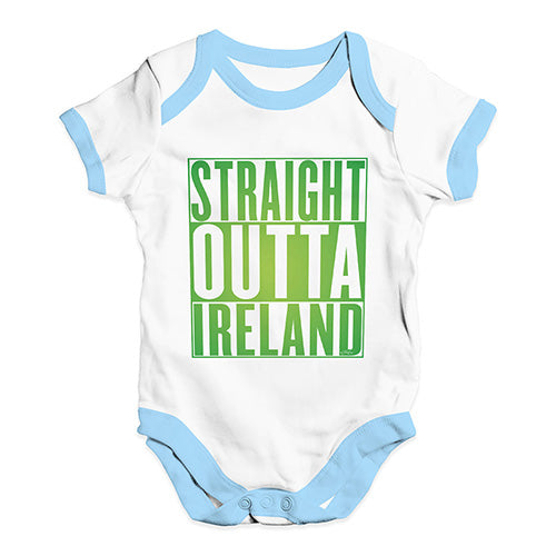 Bodysuit Baby Romper Straight Outta Ireland Green  Baby Unisex Baby Grow Bodysuit 6-12 Months White Blue Trim