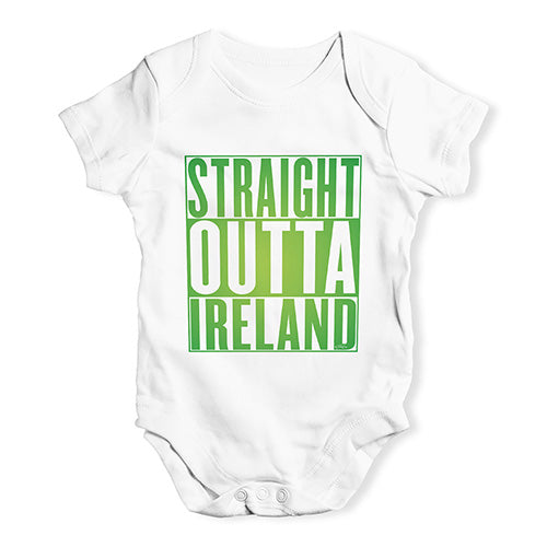 Baby Boy Clothes Straight Outta Ireland Green  Baby Unisex Baby Grow Bodysuit 0-3 Months White