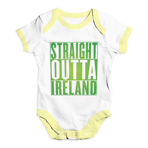 Baby Onesies Straight Outta Ireland Green  Baby Unisex Baby Grow Bodysuit 0-3 Months White Yellow Trim