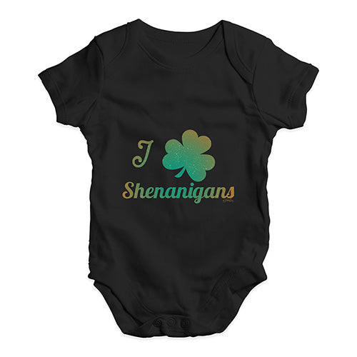 Funny Infant Baby Bodysuit I Love Shamrock Shenanigans Irish Green Baby Unisex Baby Grow Bodysuit 18-24 Months Black