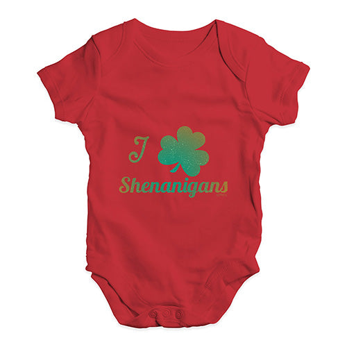 Funny Infant Baby Bodysuit Onesies I Love Shamrock Shenanigans Irish Green Baby Unisex Baby Grow Bodysuit 12-18 Months Red