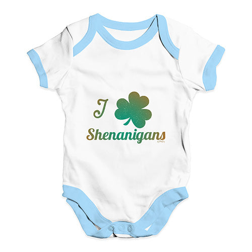 Funny Infant Baby Bodysuit Onesies I Love Shamrock Shenanigans Irish Green Baby Unisex Baby Grow Bodysuit Newborn White Blue Trim