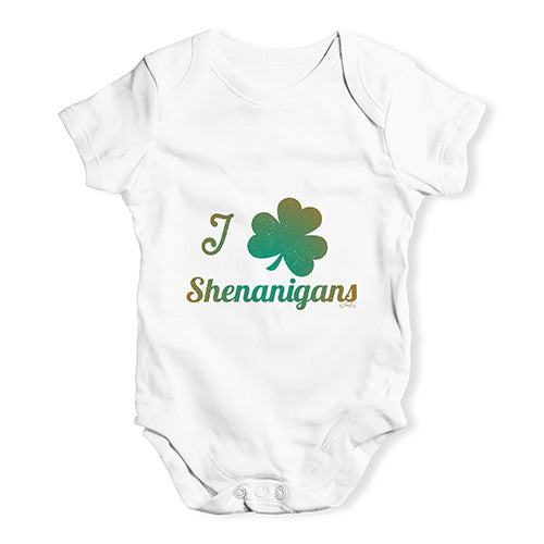 Cute Infant Bodysuit I Love Shamrock Shenanigans Irish Green Baby Unisex Baby Grow Bodysuit 18-24 Months White