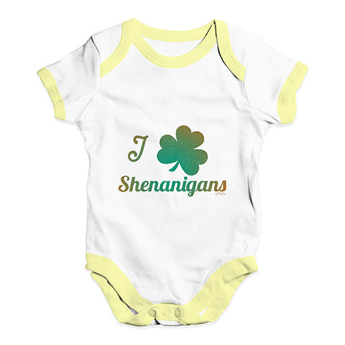 Bodysuit Baby Romper I Love Shamrock Shenanigans Irish Green Baby Unisex Baby Grow Bodysuit Newborn White Yellow Trim