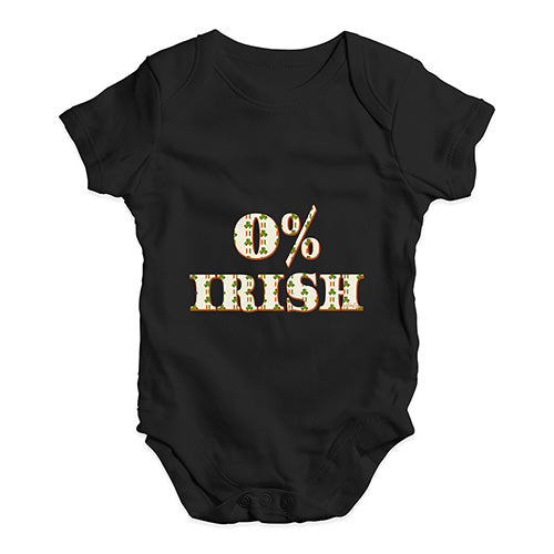 Funny Baby Bodysuits 0% Irish St Patrick's Day Shamrock Irish Flag Baby Unisex Baby Grow Bodysuit 6-12 Months Black