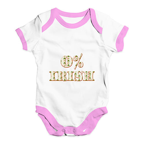 Baby Onesies 0% Irish St Patrick's Day Shamrock Irish Flag Baby Unisex Baby Grow Bodysuit Newborn White Pink Trim