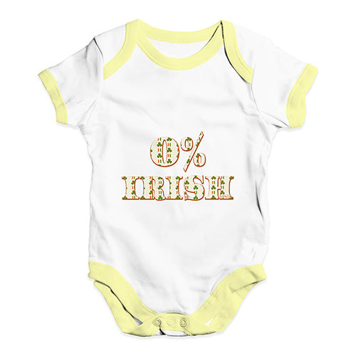 Cute Infant Bodysuit 0% Irish St Patrick's Day Shamrock Irish Flag Baby Unisex Baby Grow Bodysuit 3-6 Months White Yellow Trim