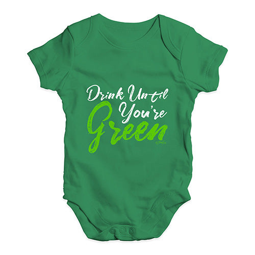 Baby Onesies Drink Until You're Green Baby Unisex Baby Grow Bodysuit 3-6 Months Green