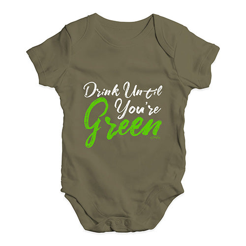 Funny Baby Onesies Drink Until You're Green Baby Unisex Baby Grow Bodysuit 6-12 Months Khaki