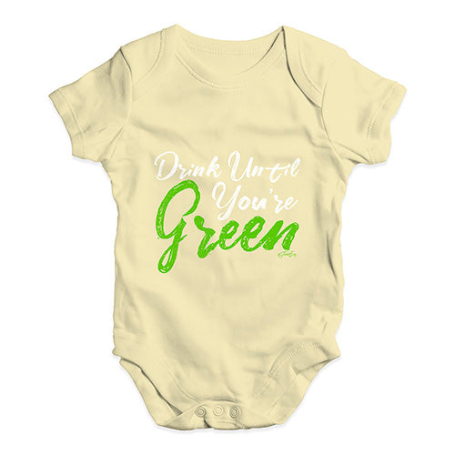Baby Grow Baby Romper Drink Until You're Green Baby Unisex Baby Grow Bodysuit 3-6 Months Lemon