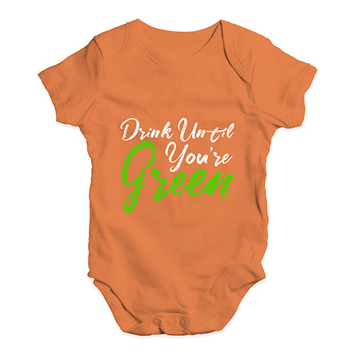 Funny Baby Clothes Drink Until You're Green Baby Unisex Baby Grow Bodysuit 0-3 Months Orange