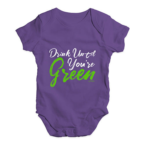 Cute Infant Bodysuit Drink Until You're Green Baby Unisex Baby Grow Bodysuit 0-3 Months Plum