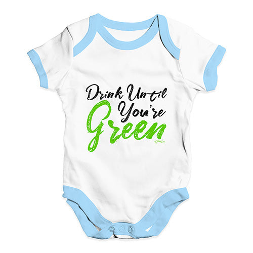 Baby Onesies Drink Until You're Green Baby Unisex Baby Grow Bodysuit 12-18 Months White Blue Trim