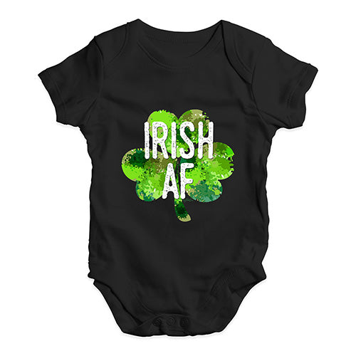 Funny Infant Baby Bodysuit Irish AF Baby Unisex Baby Grow Bodysuit 18-24 Months Black