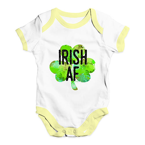 Baby Onesies Irish AF Baby Unisex Baby Grow Bodysuit 3-6 Months White Yellow Trim