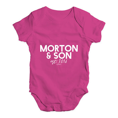 Personalised Name And Son Baby Unisex Babygrow Bodysuit Onesies