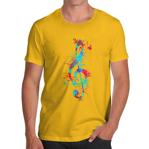 Treble Clef Paint Splats Men's  T-Shirt