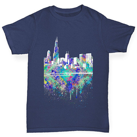 Chicago Skyline Ink Splats Girl's T-Shirt