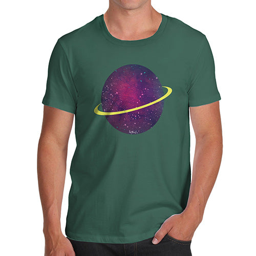 Novelty T Shirts For Dad Space Planet Men's T-Shirt Large Bottle Green
