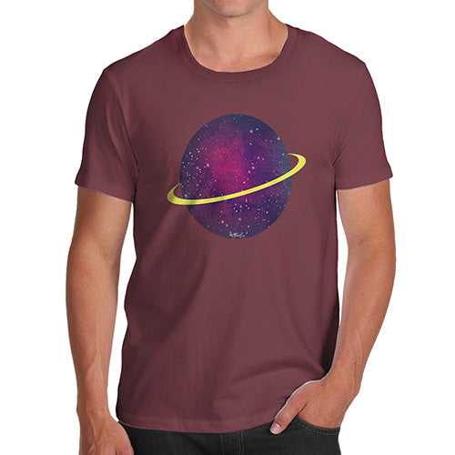 Funny Tee Shirts For Men Space Planet Men's T-Shirt X-Large Burgundy