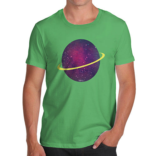 Funny Tee Shirts For Men Space Planet Men's T-Shirt Medium Green