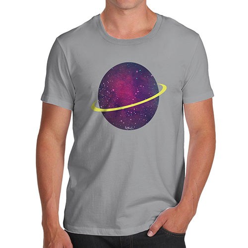 Novelty Tshirts Men Funny Space Planet Men's T-Shirt Small Light Grey