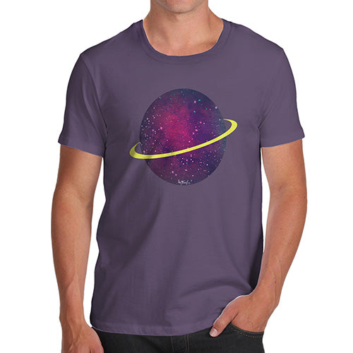 Funny Tee Shirts For Men Space Planet Men's T-Shirt Small Plum
