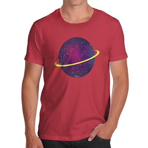 Funny T-Shirts For Men Space Planet Men's T-Shirt Small Red