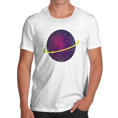 Novelty Tshirts Men Space Planet Men's T-Shirt Small White