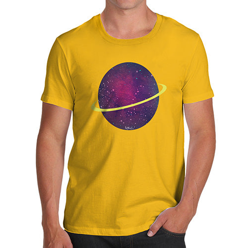 Mens Novelty T Shirt Christmas Space Planet Men's T-Shirt Large Yellow