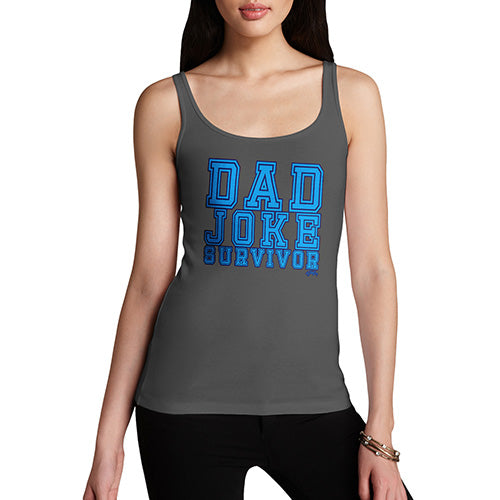Funny Gifts For Women Dad Joke Survivor Women's Tank Top X-Large Dark Grey