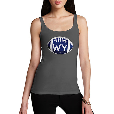 Funny Tank Top For Women WY Wyoming State Football Women's Tank Top X-Large Dark Grey