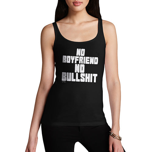Funny Tank Top For Mom No Boyfriend No Bullshit Women's Tank Top Large Black