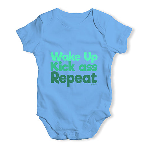 Wake Up, Kick Ass, Repeat Baby Unisex Baby Grow Bodysuit