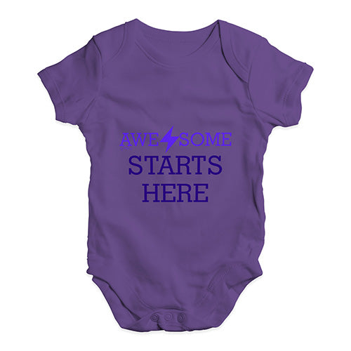Awesome Starts Here Baby Unisex Baby Grow Bodysuit