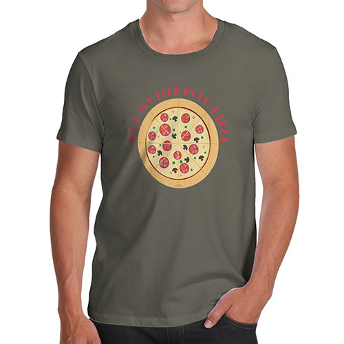 Mens T-Shirt Funny Geek Nerd Hilarious Joke Cut My Life Into Pizza Men's T-Shirt Medium Khaki