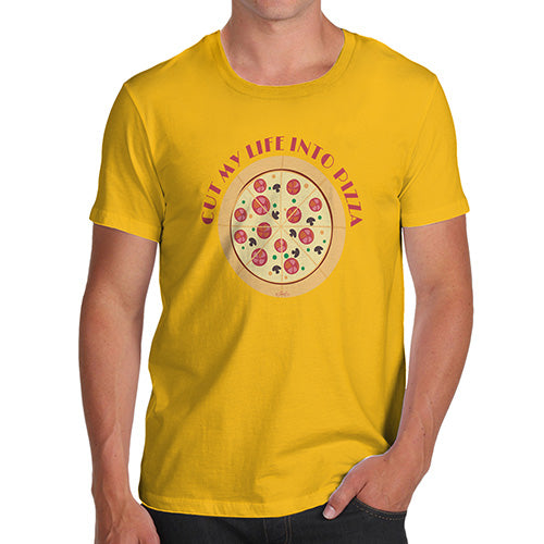Funny T Shirts For Men Cut My Life Into Pizza Men's T-Shirt X-Large Yellow