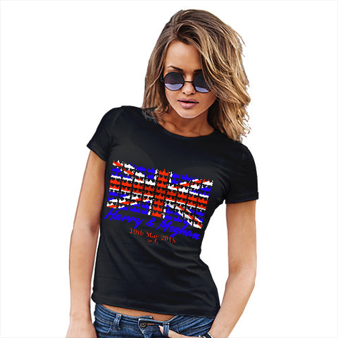 Novelty Tshirts Women Royal Wedding May 2018 Harry & Megan Women's T-Shirt Small Black