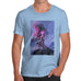 Funny Mens T Shirts Neon Lightning Volcano Men's T-Shirt X-Large Sky Blue